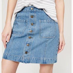 LOFT Jean Denim Mini Skirt Button Front NEW 6